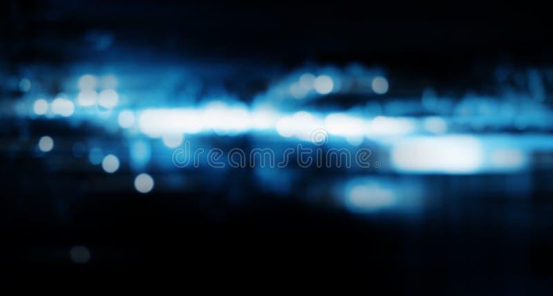 Abstrakt suddig blå teknologibakgrund av nattstaden arkivbild
