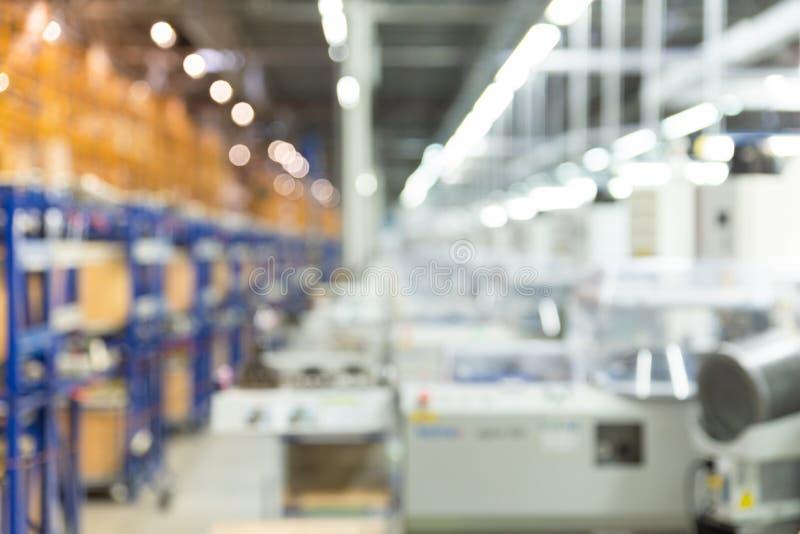 Abstrakt suddig produktionfabrik, teknisk utrustning, bakgrund för bransch fotografering för bildbyråer