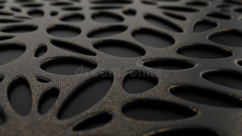 Abstrakt svart bakgrund med bionisk formyttersida arkivfoton