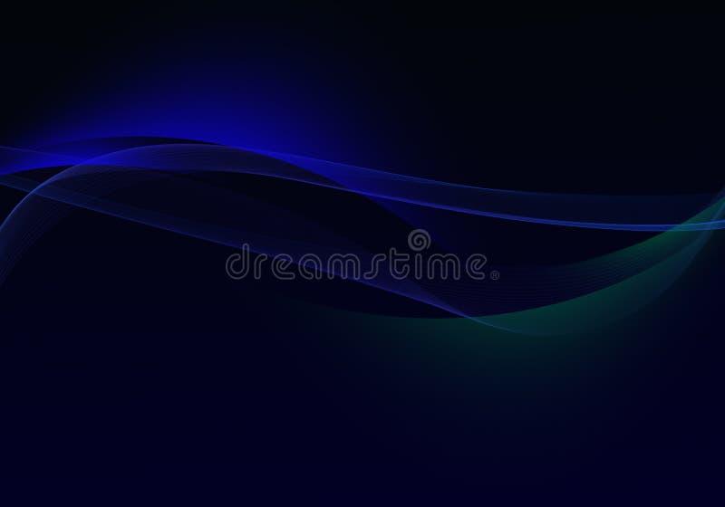 Abstrakt svart bakgrund med blåa dynamiska linjer och kurvor stock illustrationer