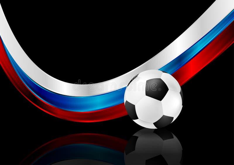 Abstrakt svart bakgrund med fotbollbollen och den ryska flaggan stock illustrationer