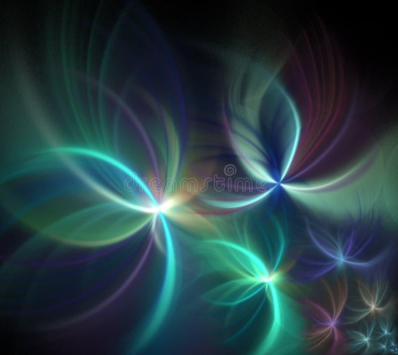 Abstrakt svart bakgrund med fyrverkerimodellen Pastellfärgad regnbåge vektor illustrationer