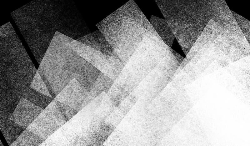 Abstrakt svart bakgrund med geometrisk design av vita genomskinliga fyrkant- och rektangelformer och diagonallinjer i modern kons stock illustrationer