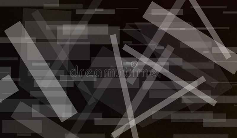 Abstrakt svart bakgrund med vita rektangelformer som varvas i modern grafikmodell med band och linjer i slumpmässig vinkel royaltyfri illustrationer