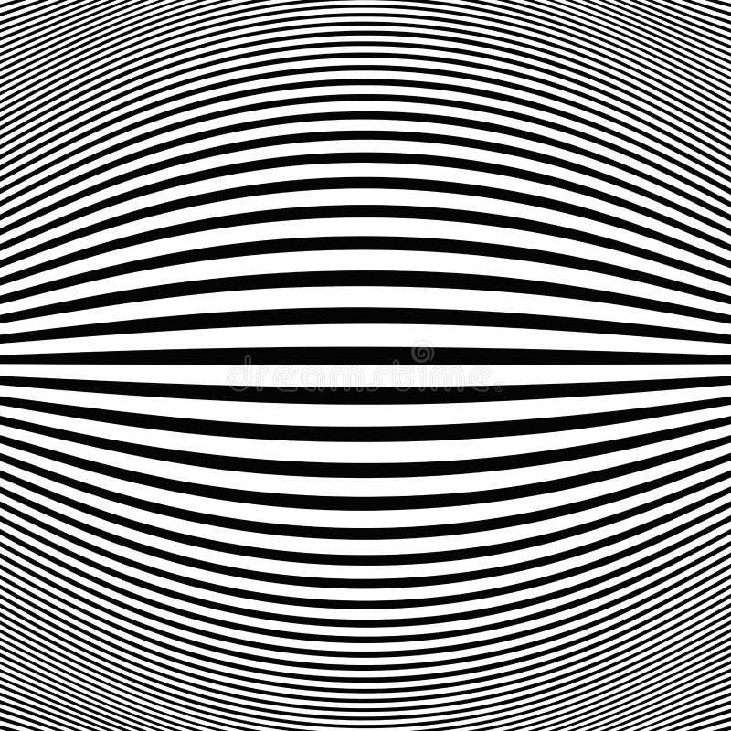 Abstrakt svart bandlinje för fisköga för op konst bakgrund royaltyfri illustrationer