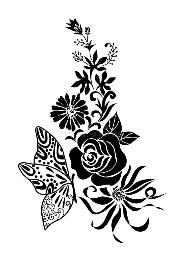 Abstrakt svart blommabukett med fjärilstatueringen, vektor stock illustrationer