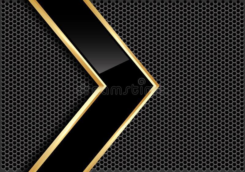 Abstrakt svart glansig guld- linje pil på vektor för bakgrund för design för ingrepp för grå färgmetallcirkel modern futuristisk stock illustrationer