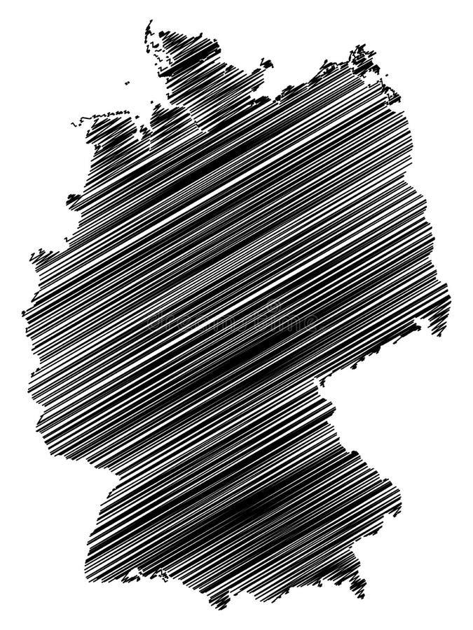 Abstrakt svart isolerad Tysklandöversikt med att klottra effekt på vit bakgrund vektor illustrationer