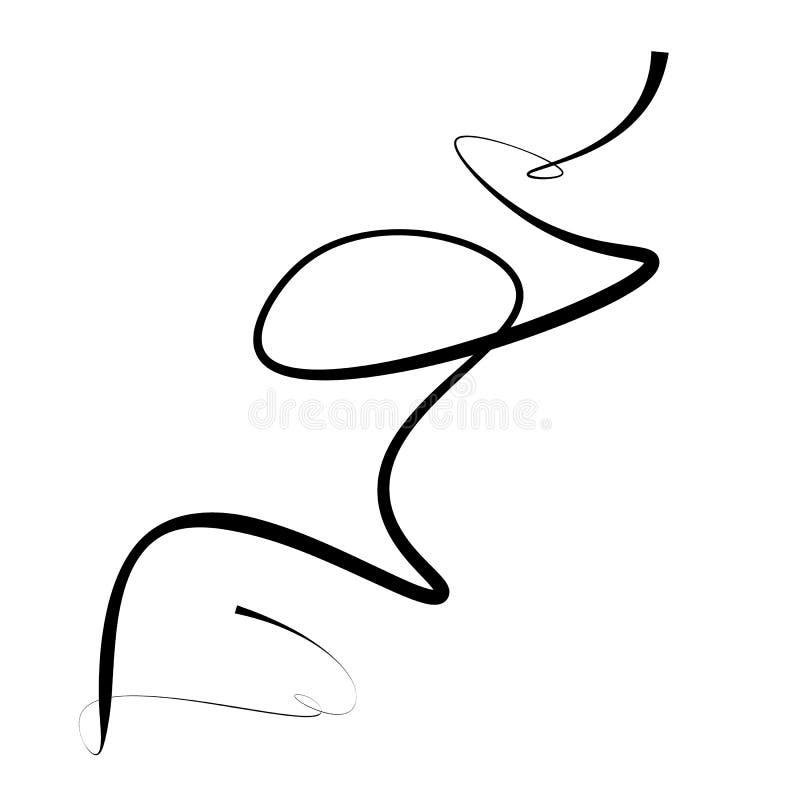 Abstrakt svart linje med behagfulla krökningar på vit bakgrund stock illustrationer