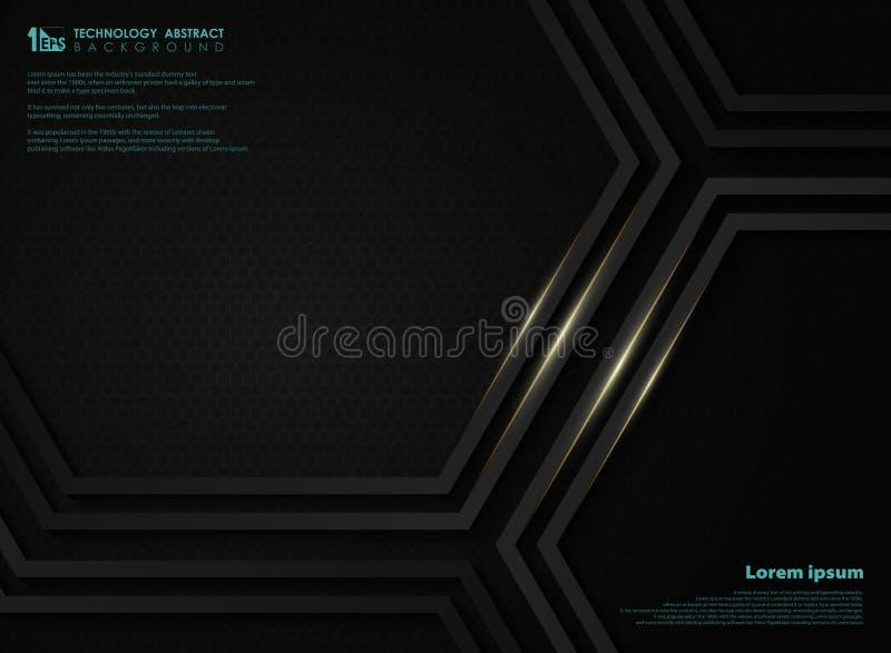 Abstrakt svart metallisk teknologisexhörningsbakgrund med den guld- linjen för presentation Illustrationvektor eps10 stock illustrationer