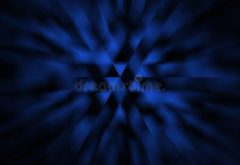 Abstrakt svart och blå bakgrund med vita trianglar och att zooma suddighetseffekt i modern geometrisk vetenskap eller technodesig royaltyfri illustrationer
