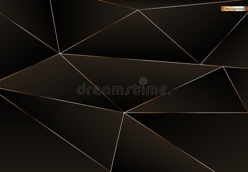 Abstrakt svart och guld- lyxig bakgrund royaltyfri illustrationer