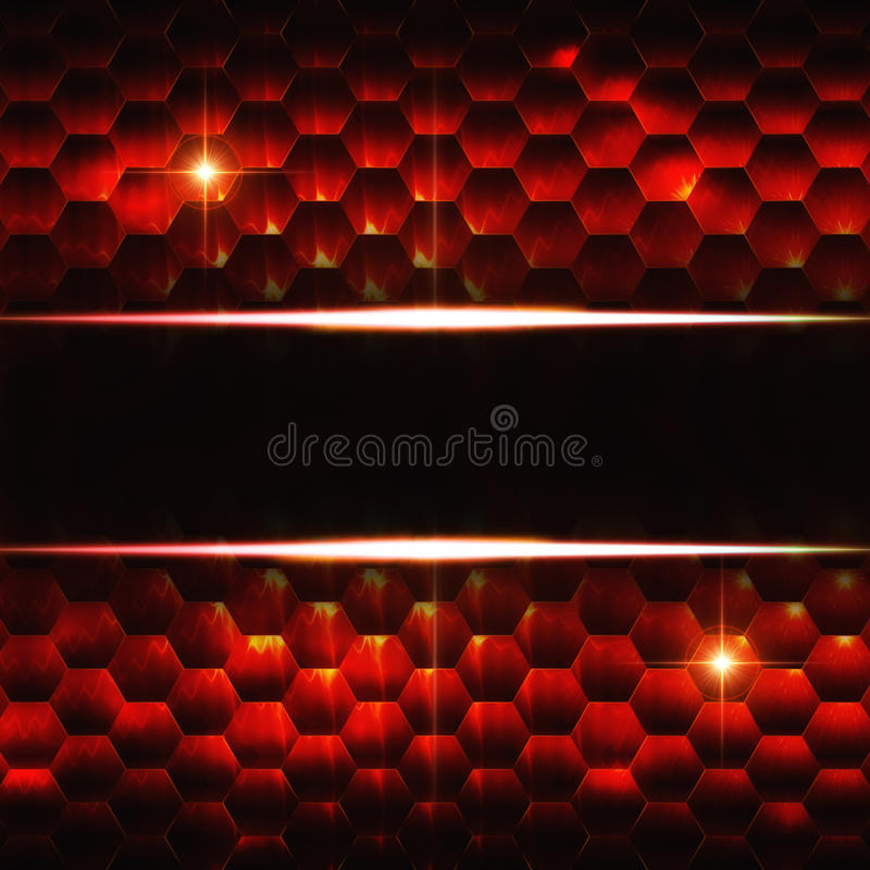 Abstrakt svart röd sexhörningsbakgrund med textutrymme royaltyfri illustrationer