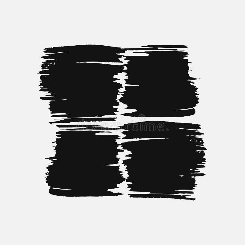 Abstrakt svart tjockt sudd av målarfärg som isoleras på en vit bakgrund royaltyfri illustrationer