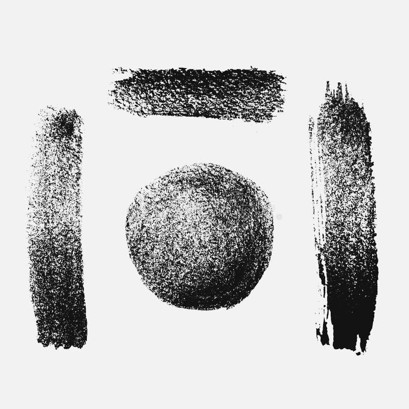 Abstrakt svart tjockt sudd av målarfärg som isoleras på en vit bakgrund stock illustrationer