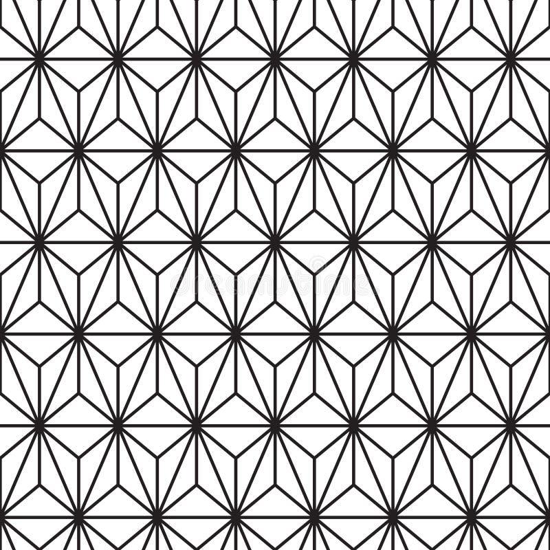 Abstrakt svart triangellinje modell på den vita monokromma sömlösa bakgrundsvektorn stock illustrationer