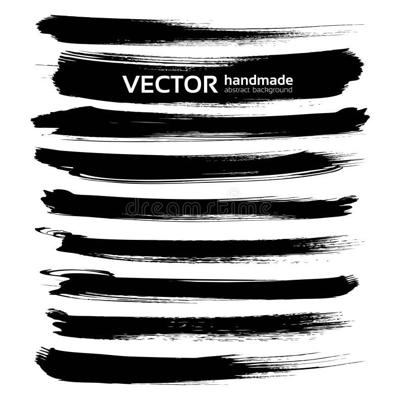 Abstrakt svart uppsättning för slaglängder för färgpulverborste länge stock illustrationer