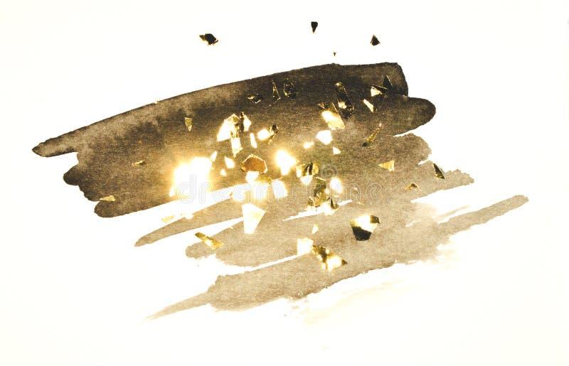Abstrakt svart vattenfärgfärgstänk och guld- blänker, stycken av folie, bakgrund i nostalgiska färger för tappning stock illustrationer