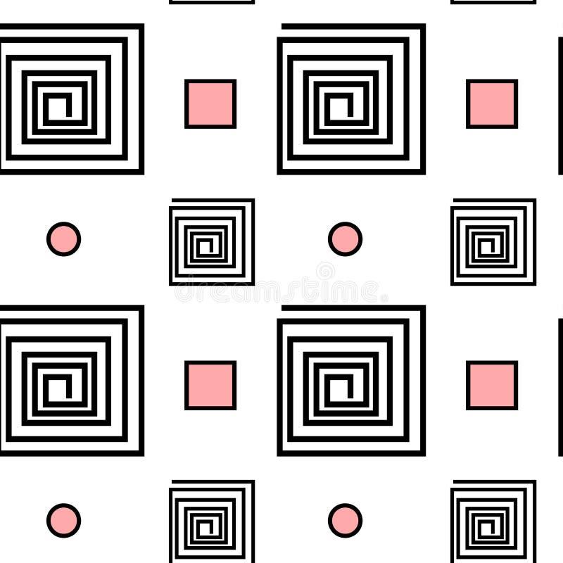 Abstrakt svart vit rosa sömlös modellbakgrundsillustration med spiralfyrkanten och geometrisk form vektor illustrationer