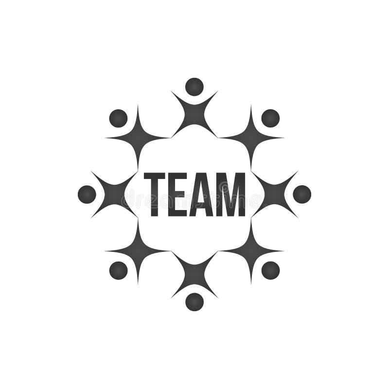 abstrakt svarta människor tillsammans som cirkelteamwork eller teambuilding begreppslogo lagarbete och lagbyggnad, socialt massme stock illustrationer
