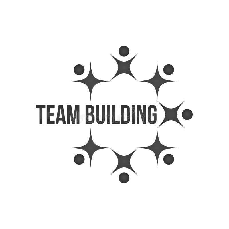 abstrakt svarta människor tillsammans som cirkelteamwork eller teambuilding begreppslogo lagarbete och lagbyggnad, socialt massme royaltyfri illustrationer