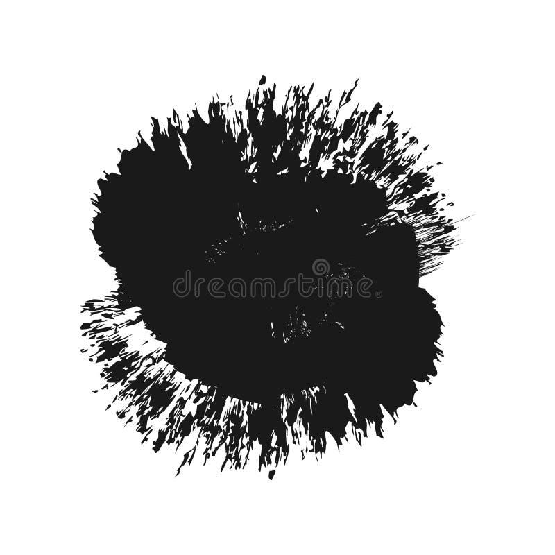Abstrakt svartfärgstänk Grunge buseborste isolerat stock illustrationer