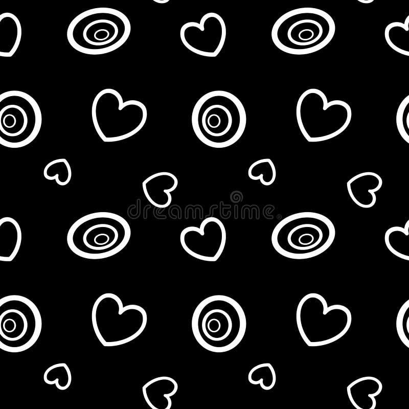 Abstrakt svartvit bakgrund med cirklar och den sömlösa modellillustrationen för hjärtor royaltyfri illustrationer
