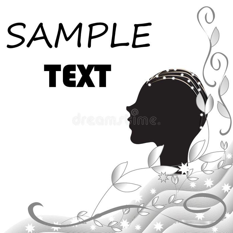 Abstrakt svartvit bakgrund med konturn av ett kvinnligt huvud stock illustrationer