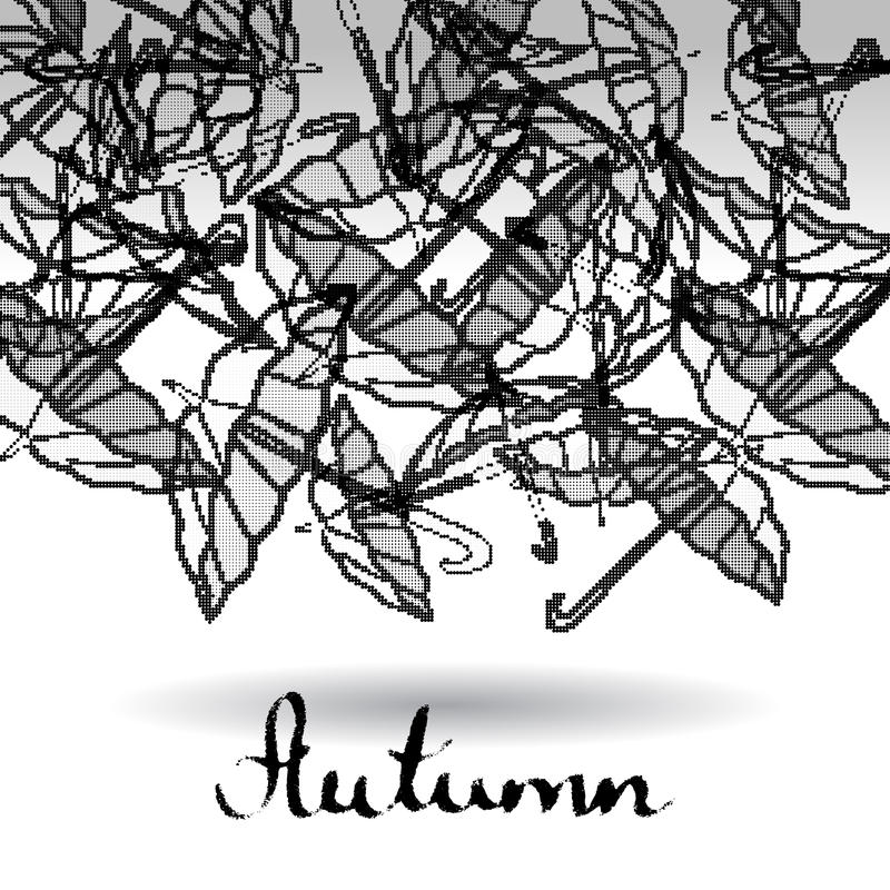 Abstrakt svartvit bakgrund rasterized paraplyer royaltyfri illustrationer