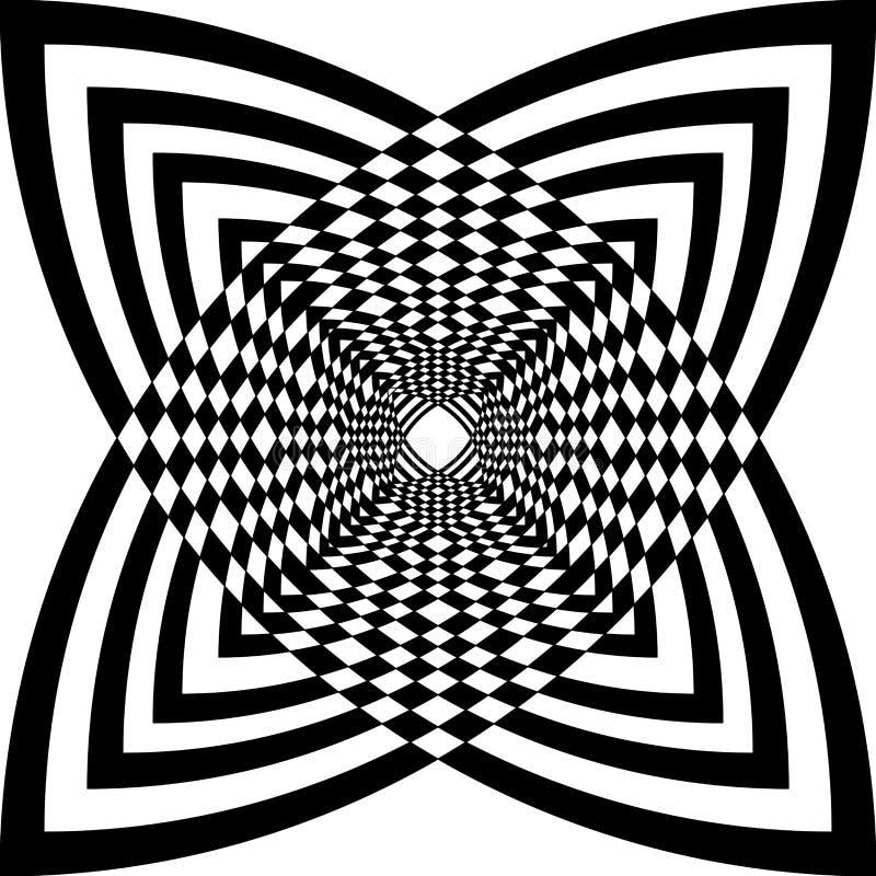 Abstrakt svartvit geometrisk bakgrund för op konst vektor illustrationer