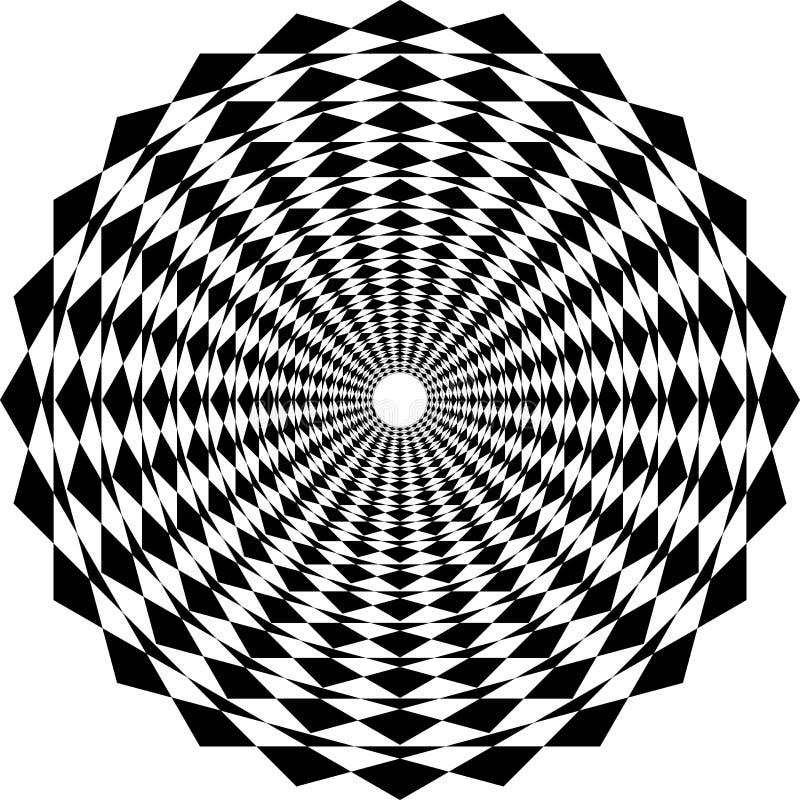Abstrakt svartvit geometrisk modellbakgrund för op konst stock illustrationer