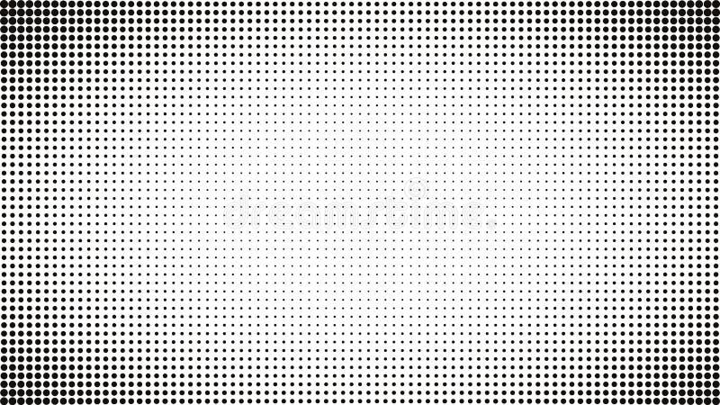 Abstrakt svartvit prickbakgrund Komisk pop Art Style Ljus effekt Lutningbakgrund med prickar stock illustrationer
