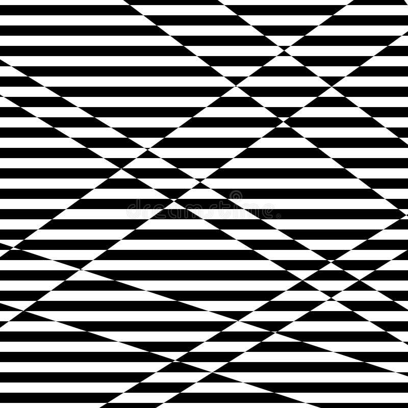 Abstrakt svartvit randig bakgrund Geometrisk modell med visuell distorsionseffekt stock illustrationer