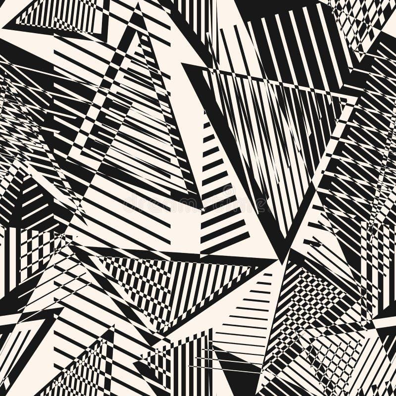 Abstrakt svartvit sömlös modell med kaotiska former, trianglar, remsor stock illustrationer