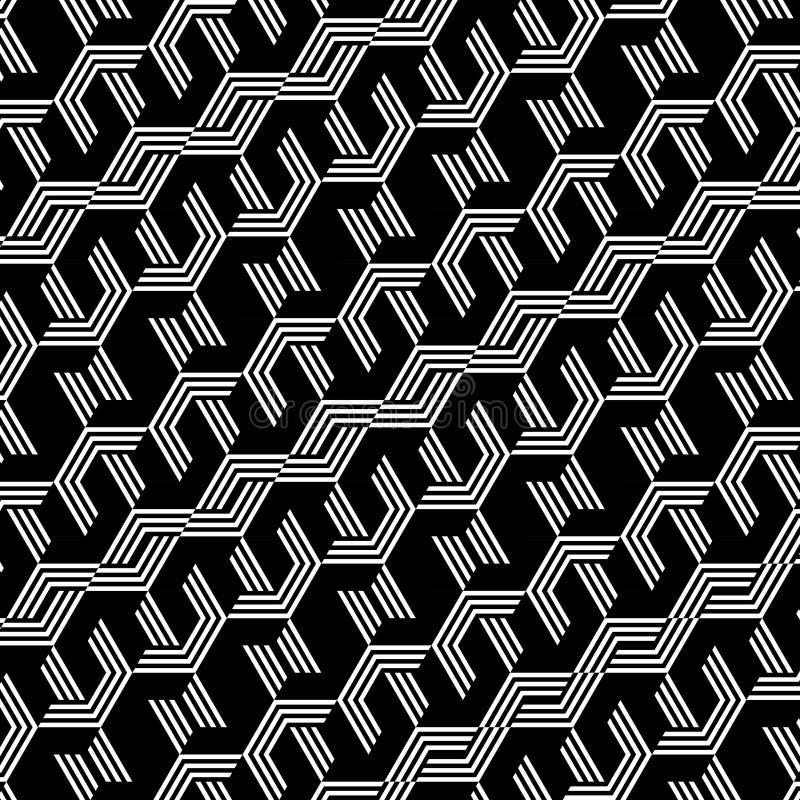 Abstrakt svartvit sexhörningsmodellbakgrund vektor illustrationer