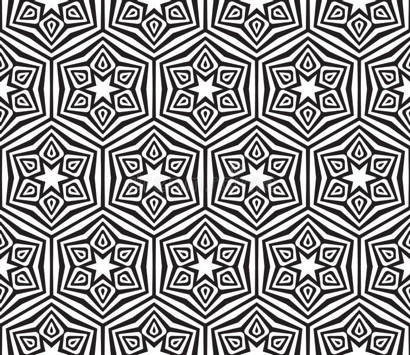 Abstrakt svartvit texturerad geometrisk sömlös modell royaltyfri illustrationer