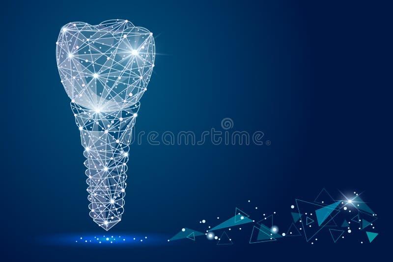 Abstrakt symbol för tand- implantat för design som isoleras från låg poly wireframe på bakgrunden av utrymme Abstrakt polygona royaltyfri illustrationer
