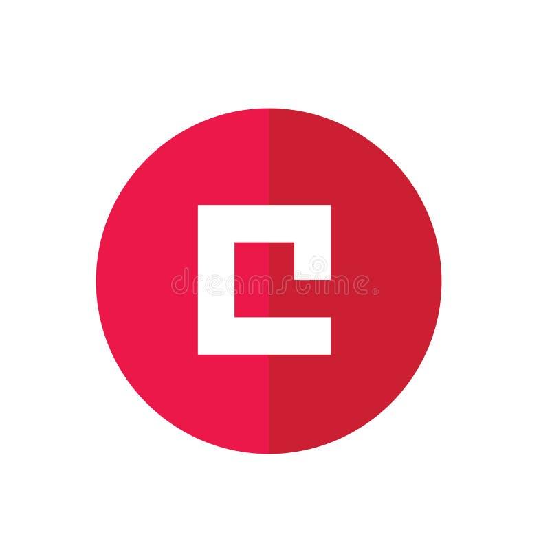 Abstrakt symbol som baseras på bokstaven C, röd rund rengöringsduksymbol - vektor royaltyfri illustrationer