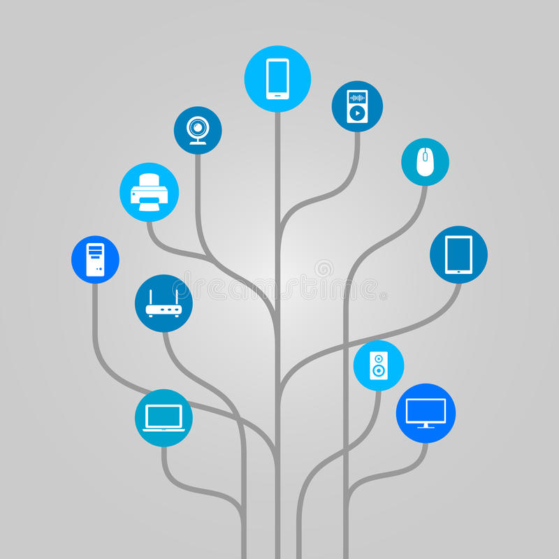 Abstrakt symbolsträdillustration - datormaskinvara, teknologi och elektroniska apparater royaltyfri illustrationer