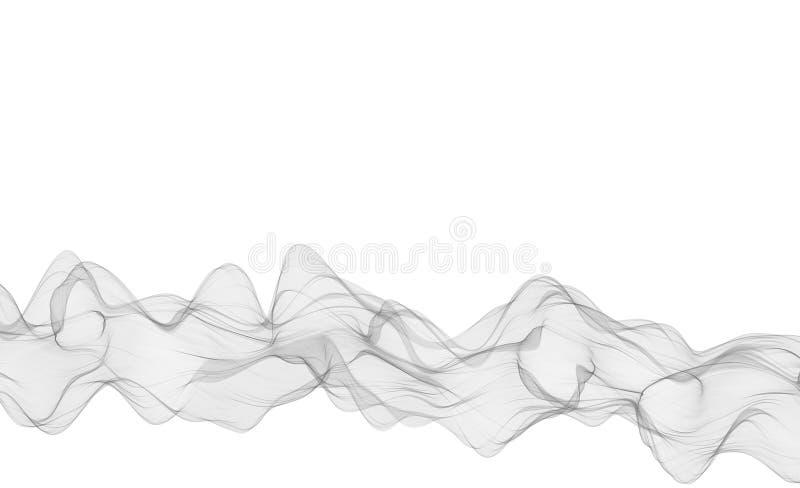 Abstrakt szarość gładka fala Koszowego przepływu ruchu popielata ilustracja gray dymu Biznesu falowy tło Technologii fala ilustracja wektor