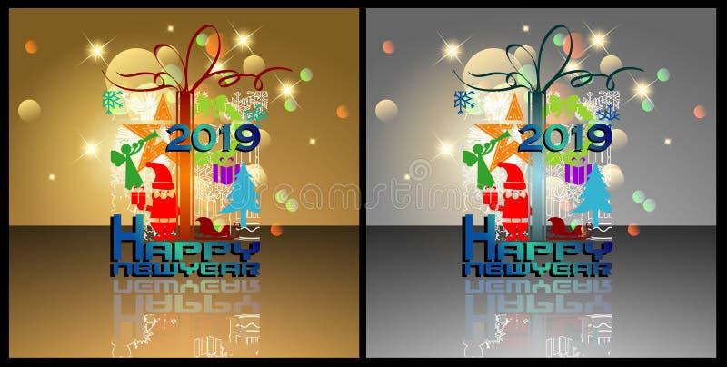 Abstrakt Szczęśliwy nowy rok 2019 royalty ilustracja