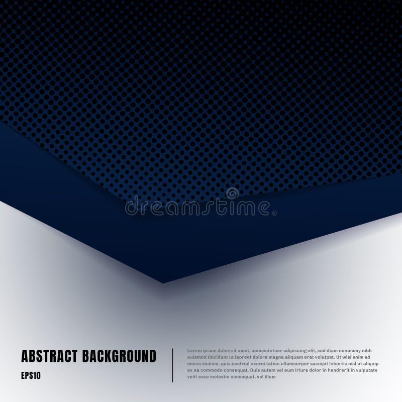 Abstrakt sztuki i halftone układu papierowy stylowy szablon Zmrok - błękitni gradientowi trójboki pokrywa się realistycznych cien ilustracji