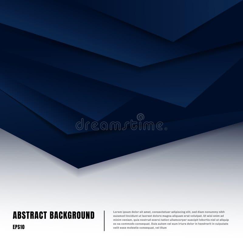 Abstrakt sztuki stylu układu papierowy szablon Zmrok - błękitni gradientowi trójboki pokrywa się realistycznych cienie na białym  ilustracja wektor