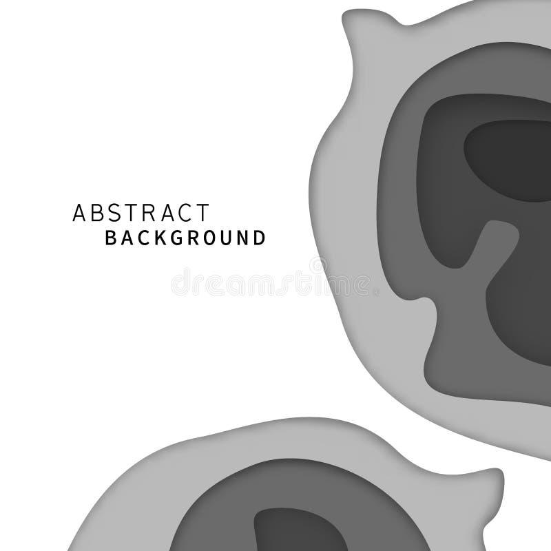 Abstrakt sztuki warstwy papierowy tło Czarny I Biały monotone kolor tapeta Cyfrowego rzemiosła pojęcie r?wnie? zwr?ci? corel ilus royalty ilustracja