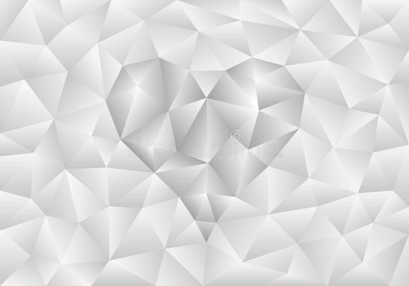 Abstrakt tänd - grå polygonal bakgrund med hjärtaform stock illustrationer
