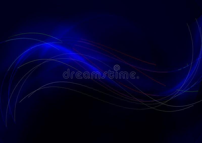 Abstrakt tęczy lampasów falistej pokrywy cienkie przecina gładkie rozjarzone błękitnawe fale na zmroku - błękitny tło royalty ilustracja
