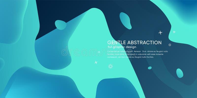 Abstrakt tapet med dynamisk form Bakgrund med vätskeformer Moderiktig bakgrund för futuristisk is modern orientering royaltyfri illustrationer