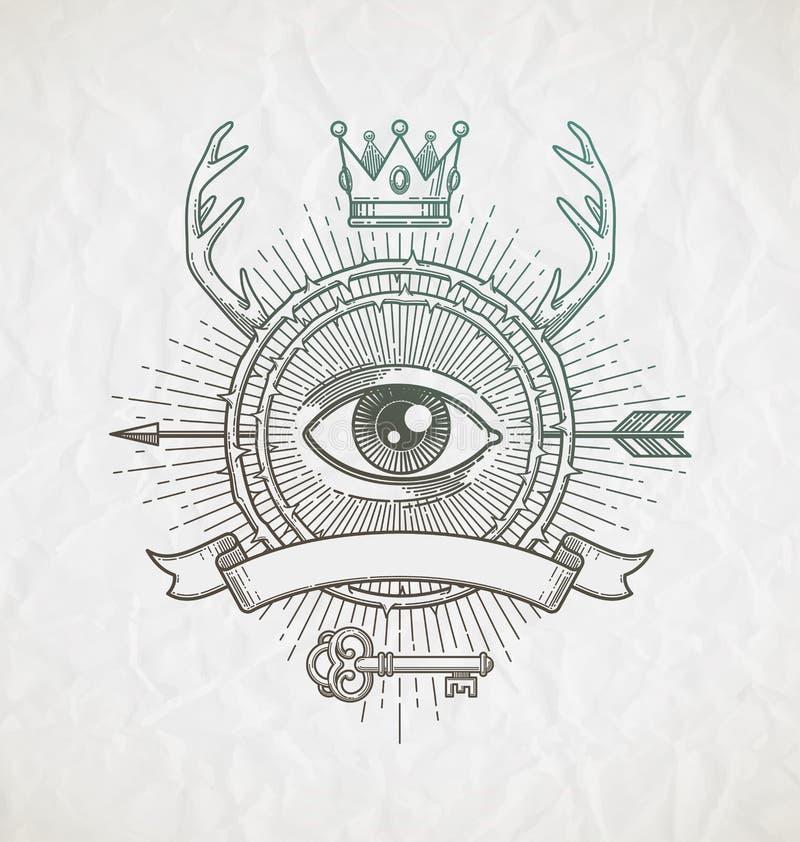 Abstrakt tatueringstillinje konstemblem royaltyfri illustrationer