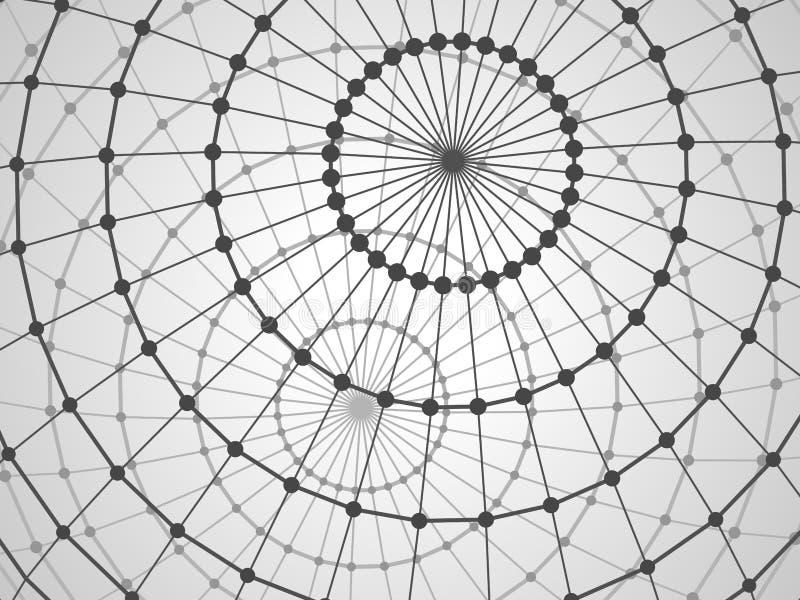 Abstrakt techbakgrund med gallersfären vektor illustrationer