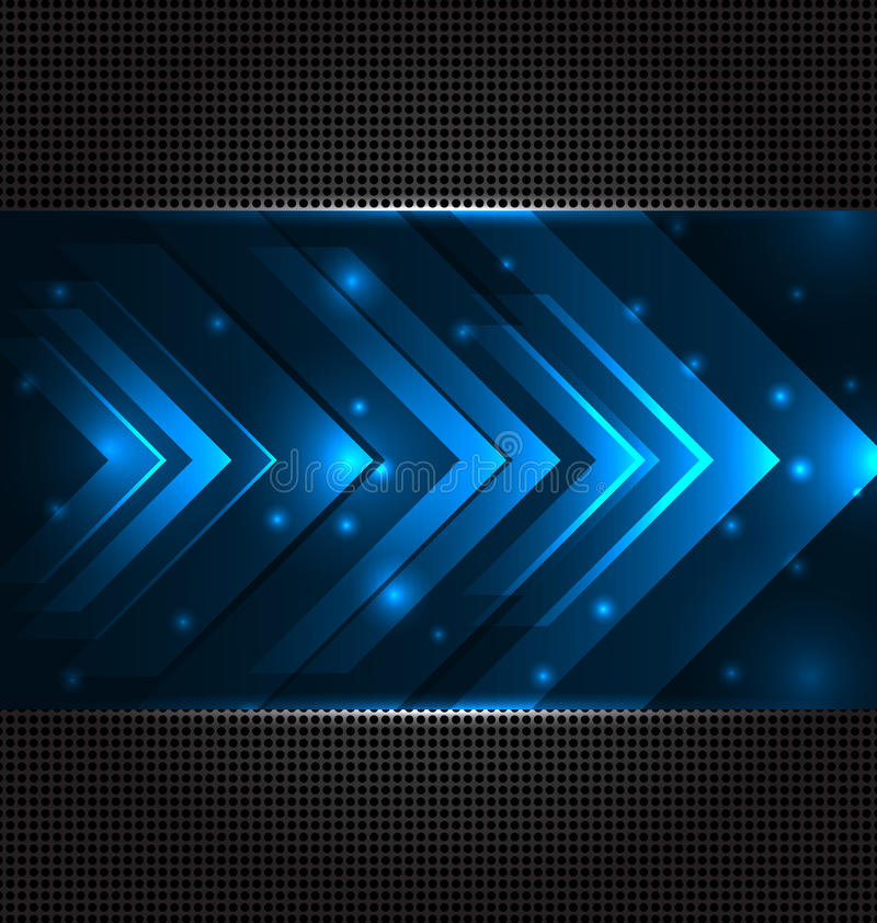 Abstrakt technobakgrund med fastställda genomskinliga pilar vektor illustrationer